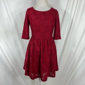 KENSIE women's deep red lace dress size small s